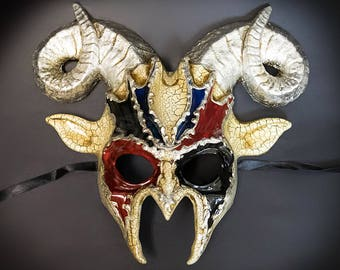 Ram Venetian Masquerade Mask Animal Masquerade Mask Silver/Black/Red