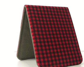 Mens Minimalist Wallet / Slim Bifold Wallet / Lumberjack Plaid / Vegan