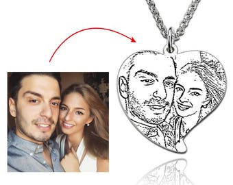 Custom Picture Necklace,Personalized Photo Necklace,Heart Photo Necklace,Engraved Photo Necklace,Portrait Necklace,Engraved Photo Keepsake