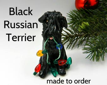 Black Russian Terrier Dog Porcelain Christmas Ornament Figurine Made to Order