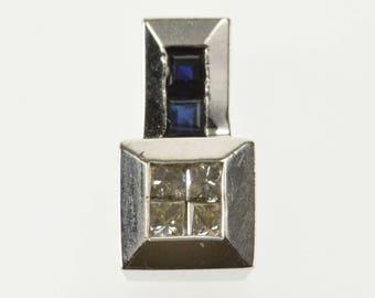 10k Princess Diamond Sapphire Geometric Squared Pendant Gold