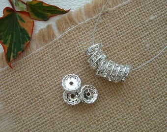 Set of 5 bead Rondelles 12mm silver Crystal rhinestone