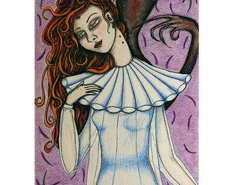 Art print _ Lucy Westenra_ replica of an original illustration inspired by Bram Stoker 's Dracula _ gothic horror vampire dark romantic gift