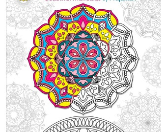 Printable Adult coloring book, coloring book download, yoga meditation doodles mandalas, stress relieving gifts, Zendoodle coloring
