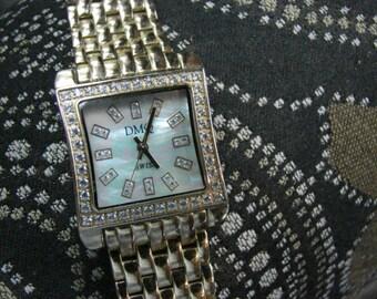 Mens DMQ Swiss Dress Watch, Quartz, Faux Diamonds Mother of Pearl Look