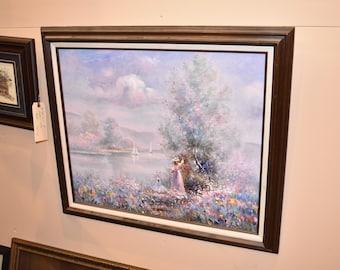 Signed B Scisser Wall Art Landscape Pastel Floral Painting