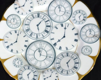 Edible Clock Faces New Years Eve Party Food Decorations Steampunk Cake Cupcake Cookie Toppers Wafer Rice Paper Watch Celebration Face RTD