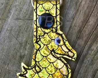 Pregnant seahorse set of 3 key fob charm feltie