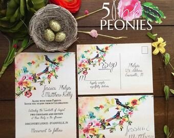 Wedding Invitation - Watercolor Birds Invitation - Branch Invitation - Vintage Invitation - Hand drawn Custom invitations - RSVP cards