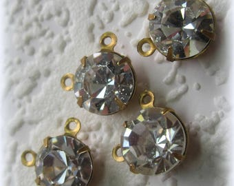 Swarovski Crystal, 90 Degree, Offset, 2 Ring, Crystal Clear, 10x8MM, Crystal, Clear, Round, Rhinestone, Brass 2 Ring, Connector, 8,