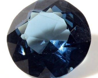 24mm large Czech vintage round faceted montana blue glass rhinestone C242-130