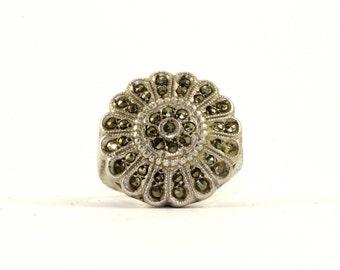 Vintage Flower Design Marcasite Inlay Ring 925 Sterling Silver RG 2395