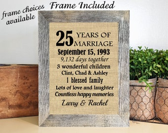 FRAMED 25th Anniversary Gift/25th Wedding Anniversary Gifts/25 years of marriage/25th Anniversary gift parents/Silver Anniversary Gift