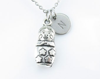 Russian Doll Necklace, Nesting Doll, Antique Silver Finished Russian Doll Charm, Initial Necklace, Personalized, Monogram Charm Y198