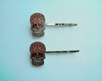 Pink Sugar Skull Bobby Pins