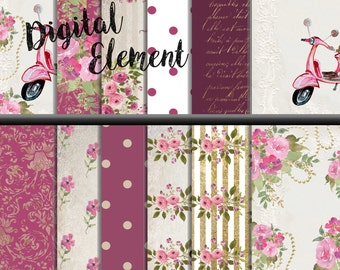 Commercial Use: Digital Paper, Scrapbook Paper, Shabby Chic Pink Rosy Paper, Vintage Wedding Floral Paper, Watercolor Rose Paper. No.P154