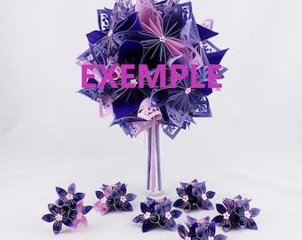 Origami paper bridal bouquet + hair + 5 boutonnieres men accessory