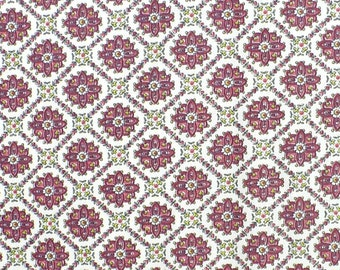 Vintage fabric, small geometric print, hearts and flowers, 1 YARD, BTY
