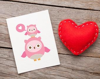 Owl Love Pink Sweet Greeting Card