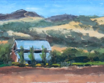 Original Plein Air Oil Painting Northern California Artist AFTER The FIRE Green Valley Twin Brothers Mountain Fairfield Landscape USA made
