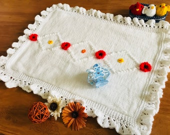 Handmade Baby Blanket Afghan - Car Seat Baby Blanket