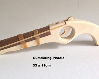 Rubber band gun made of wood for children / Pirates / Handmade / Wooden toys