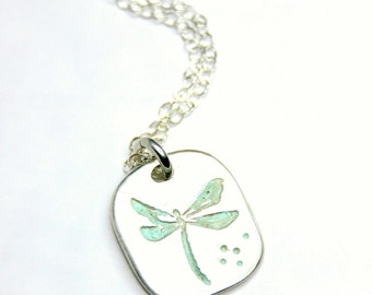 Pure Silver Dragonfly Necklace, Handcrafted Silver Dragonfly Pendant on Sterling Silver Cable Link Chain