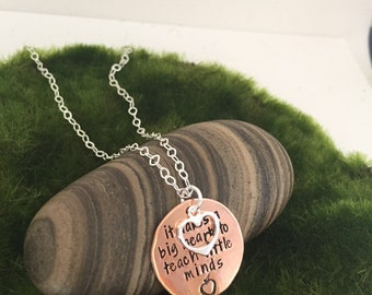 Teacher necklace- teacher gift- handstamped copper necklace- personalized jewelry- big heart- sterling and copper