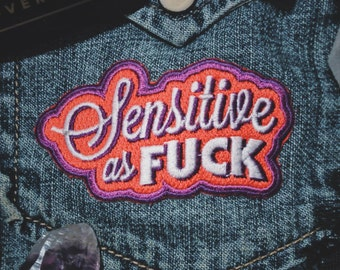 "Sensitive as Fuck Patch - Punk/Emo Fashion Accessory - 3"" Iron On Embroidered Patch  - Red/Purple for Shy or Empathic People"