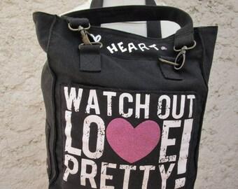 handbag or shoulder black denim with white posts