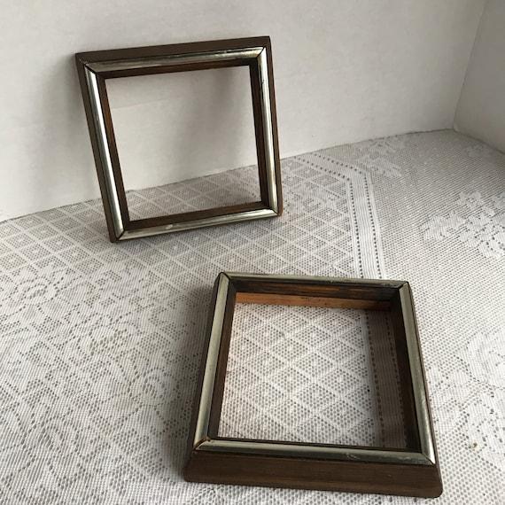 Picture Frames / Vintage Square Brown Wood Frames / Set of Two ...