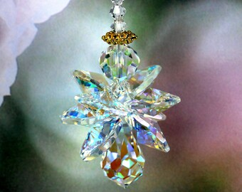 Angel Suncatcher - Quad Winged Aurora Borealis Guardian Angel Car Charm Home Window Ornament m/w Swarovski® crystals Pearl Place N More