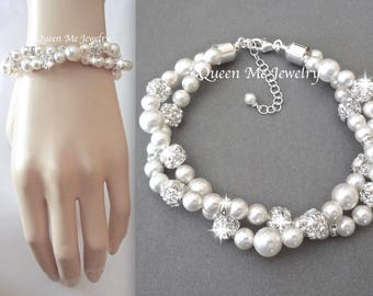 Twisted pearl bracelet Swarovski pearl bracelet Brides pearl wedding bracelet 2 strand twisted bracelet Infinity bracelet Wedding Jewelry