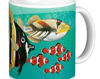 Fish, Clown Fish, Tropical Fish Mug, Tropical Fishes, Angel Fish, Trigger Fish, Tropical Fish Collector