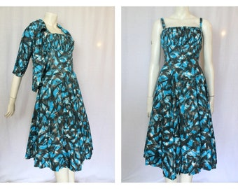 50's Mid Century Cotton Dress & Bolero Jacket