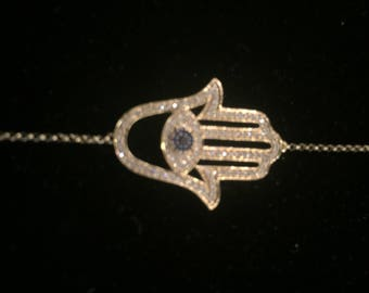 14K Gold and diamond hamsa bracelet with evil eye