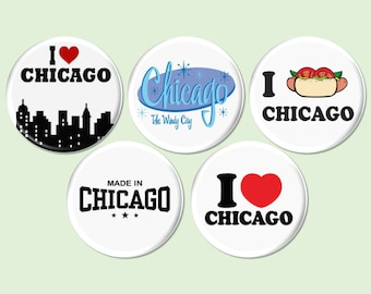 5 Chicago Pinbacks or Fridge Magnets, I Love Chicago Pin Buttons, Chicago Party Favors, Windy City Pin Buttons, Chicago Souvenirs - BB2118