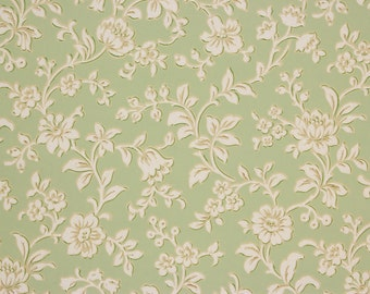 1920s Antique Vintage Wallpaper White Flowers on Green by the Yard--Made in Belgium