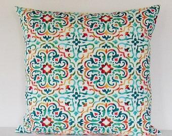 Geometric Outdoor Pillow Cover Aqua Turquoise Decorative Throw Accent Patio Porch Sunroom Pillow 16x16 18x18 12x16 12x18 Lumbar Zipper