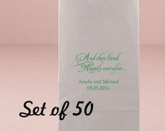 Personalized Wedding Kraft Bag - Happily Ever After - Wedding - Wedding Favor Bag - Goodie Bag - Set of 50 - Colored Paper Bag - Favor Bag
