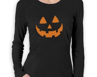 Orange Jack O' Lantern Pumpkin Face Halloween Costume Women Long Sleeve T-Shirt