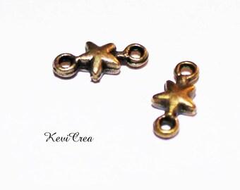 20 x small connectors metal bronze stars
