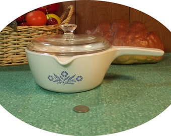 Vintage Corning Ware Blue Cornflower Sauce Pan / Dish with Lid - 2 1/2 Cup - ( P-89-B ) ( P89B )