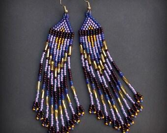 Violet Purple earrings Fringe seed bead earrings Long boho seed bead earrings Beaded jewellery Long evening earrings Fringe beaded earrings