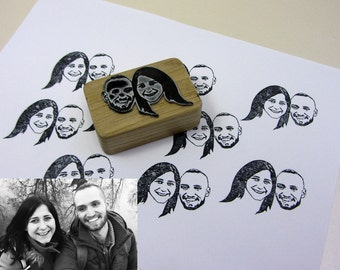 Portrait Stamp Personalized Gift For Couple Wedding Favors Custom Portraits Invitations Stamp  Save The Date Stamp  Wedding Bridesmaid Her