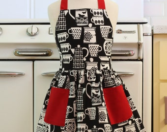 Vintage Inspired Black and White Teacups and Teapots with RED Full Apron for Little Girls