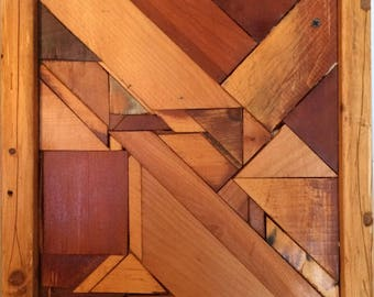 perception: abstract geometric scrap wood wall quilt