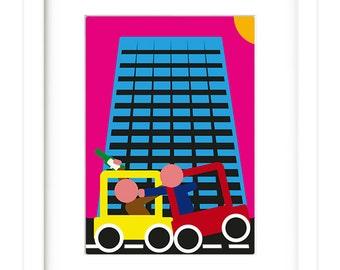 Contemporary, modern, colourful, London, Car, Digital Print
