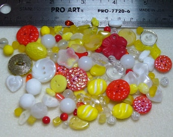 PRICE DROP - DESTASH - Vintage Beads and Buttons - German Glass - yellows, orange, red, white, clear - V972