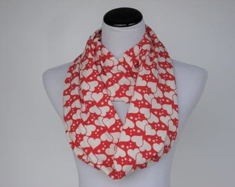 Red Scarf Valentine's day Scarf Hearts Scarf Infinity Scarf Toddler Infant Adult Scarf Red White Scarf matching scarf for mom & child